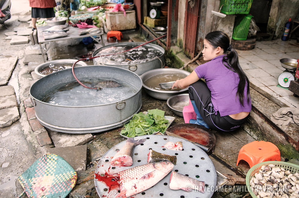 A woman cleans fish for sale at a morning market in Hanoi, Vietnam.