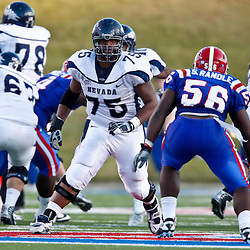 December 4, 2010; Ruston, LA, USA;  Nevada Wolf Pack offensive linesman Chris Barker (75) against Louisiana Tech Bulldogs linebacker Solomon Randle (56) during the second half at Joe Aillet Stadium.  Nevada defeated Louisiana Tech 35-17. Mandatory Credit: Derick E. Hingle