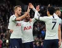 Football - 2019 / 2020 Premier League - Tottenham Hotspur vs. Burnley<br /> <br /> Lucas Moura of Spurs celebrates scoring goal no 2 with Harry Kane and Heung - Min Son, at the Tottenham Hotspur Stadium.<br /> <br /> COLORSPORT/ANDREW COWIE