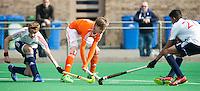 ROTTERDAM -    Floris de Bie (r)  (Neth)       Practice Match  Hockey : Netherlands Boys U16  v England U16 . COPYRIGHT KOEN SUYK