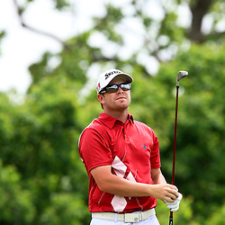 2009 April 26: Aaron Watkins of Mesa, AZ tee's off on the eighth hole during the final round of the Zurich Classic of New Orleans PGA Tour golf tournament played at TPC Louisiana in Avondale, Louisiana.