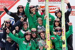 BARDAL Anders (2R), overall World Cup Champion celebrates with his teammates of Norway at trophy ceremony after the Flying Hill Individual competition at 4th day of FIS Ski Jumping World Cup Finals Planica 2012, on March 18, 2012, Planica, Slovenia. (Photo by Vid Ponikvar / Sportida.com)