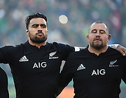 JOHANNESBURG, South Africa, 25 July 2015 : Liam Messam and Tony Woodcock of the All Blacks before the Castle Lager Rugby Championship test match between SOUTH AFRICA and NEW ZEALAND at Emirates Airline Park in Johannesburg, South Africa on 25 July 2015. Bokke 20 - 27 All Blacks<br /> <br /> © Anton de Villiers / SASPA