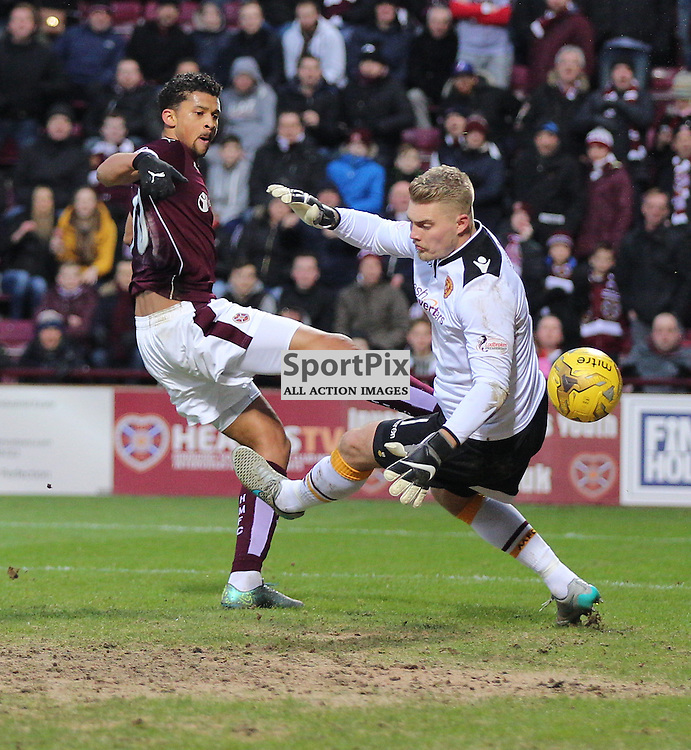 Hearts v Motherwell Scottish Premiership 16 January 2016; Osman Sow (Hearts, 10) has a goal ruled out for off side during the Heart of Midlothian v Motherwell Scottish Premiership match played at Tynecastle Stadium, Edinburgh; <br /> <br /> &copy; Chris McCluskie | SportPix.org.uk