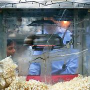 A popcorn cart's window in south Delhi