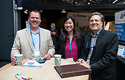 Scott Holland from Sysspark, Tina Chang from SysLogic, and Jeff Rusinow from Silicon Pastures at the Wisconsin Entrepreneurship Conference at Venue 42 in Milwaukee, Wisconsin, Tuesday, June 4, 2019.
