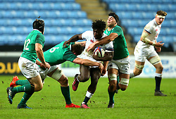Gabriel Ibitoye of England U20 is tackled - Mandatory by-line: Robbie Stephenson/JMP - 16/03/2018 - RUGBY - Ricoh Arena - Coventry, England - England U20 v Ireland U20 - Six Nations U20