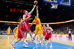 Sergey Monya of Russia vs Damjan Stojanovski of Macedonia during basketball game between National basketball teams of F.Y.R. of Macedonia and Russia of 3rd place game of FIBA Europe Eurobasket Lithuania 2011, on September 18, 2011, in Arena Zalgirio, Kaunas, Lithuania. (Photo by Vid Ponikvar / Sportida)