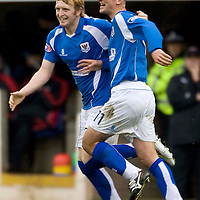 St Johnstone v Partick Thistle....25.10.08<br /> Liam Craig celebrates making it 2-0 with Paul Sheerin<br /> Picture by Graeme Hart.<br /> Copyright Perthshire Picture Agency<br /> Tel: 01738 623350  Mobile: 07990 594431