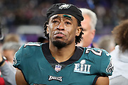 Philadelphia Eagles cornerback Patrick Robinson (21) begins to well up with emotion after the Eagles win the 2018 NFL Super Bowl LII football game against the New England Patriots on Sunday, Feb. 4, 2018 in Minneapolis. The Eagles won the game 41-33. (©Paul Anthony Spinelli)