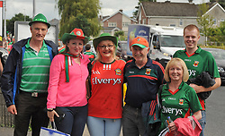 Mayo supporters making their way to the Gaelic Grounds Limerick for  the qualifer clash against Cork from left David O&rsquo;Malley, Aileen McDonnell, Michelle McDonnell, Gabriel Gibbons, Mary Foy and Paul Geraghty.<br />