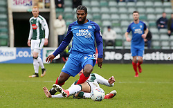 Anthony Grant of Peterborough United is fouled by Oscar Threlkeld of Plymouth Argyle - Mandatory by-line: Joe Dent/JMP - 07/04/2018 - FOOTBALL - Home Park - Plymouth, England - Plymouth Argyle v Peterborough United - Sky Bet League One