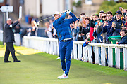Justin Timberlake plays his second shot to the first green during the third round of the Alfred Dunhill Links Championship European Tour at St Andrews, West Sands, Scotland on 28 September 2019.