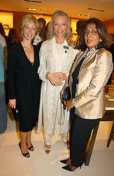 Left to right, REBECCA CARCELLE, HRH PRINCESS MICHAEL OF KENT and the PRINCESS OF MORVI at a party to celebrate the publication of 'Made for Maharajas' by Dr Amin Jaffer hosted by Louis Vuitton at their store on Sloane Street, London on 10th October 2006.<br />