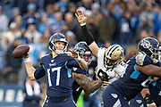 NASHVILLE, TN - DECEMBER 22:  Ryan Tannehill #17 of the Tennessee Titans Saints throws a pass in the second half of a game against the New Orleans Saints at Nissan Stadium on December 22, 2019 in Nashville, Tennessee. The Saints defeated the Titans 38-28.  (Photo by Wesley Hitt/Getty Images) *** Local Caption *** Ryan Tannehill