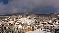 View down from ski slope to River Run Village, Keystone Resort, Colorado USA.