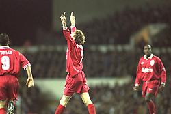 London, England - Monday, December 2, 1996: Liverpool's Steve McManaman celebrates scoring the second goal against Tottenham Hotspur during the Premiership match at White Hart Lane. (Pic by David Rawcliffe/Propaganda)