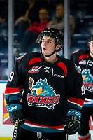 KELOWNA, CANADA - SEPTEMBER 22:  Mark Liwiski #9 of the Kelowna Rockets warms up against the Kamloops Blazers on September 22, 2018 at Prospera Place in Kelowna, British Columbia, Canada.  (Photo by Marissa Baecker/Shoot the Breeze)  *** Local Caption ***