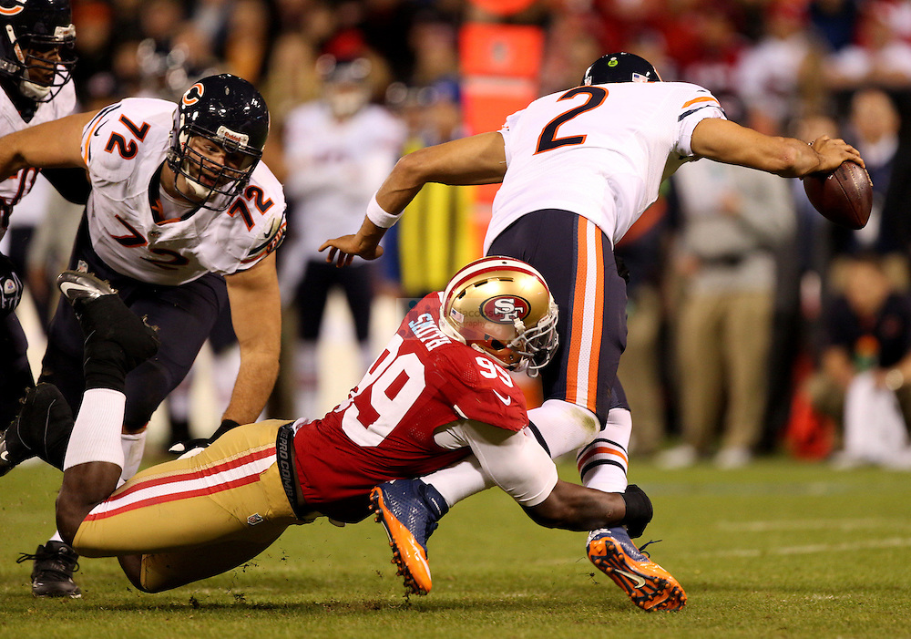 San Francisco 49ers linebacker Aldon Smith (99) in action against Chicago Bears quarterback Jason Campbell (2) during an NFL game on Monday Nov. 19, 2012 in San Francisco, CA.  (photo by Jed Jacobsohn)