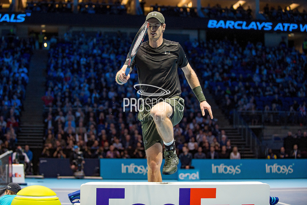 Andy Murray of Great Britain jumps the bench during the semi-final and day seven of the Barclays ATP World Tour Finals at the O2 Arena, London, United Kingdom on 19 November 2016. Photo by Martin Cole.