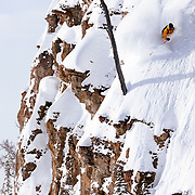 Jeff Annetts drops a cliff line in the Teton side-country off of JHMR.