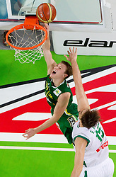 Martynas Pocius of Lithuania vs Erazem Lorbek of Slovenia during friendly match before Eurobasket Lithuania 2011 between National teams of Slovenia and Lithuania, on August 24, 2011, in Arena Stozice, Ljubljana, Slovenia. (Photo by Vid Ponikvar / Sportida)