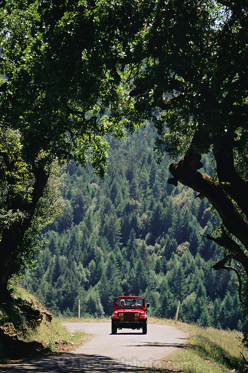 Red Jeep on northern California coast road in Sonoma County.