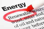 "Document headed ""Energy"" has ""Renewable"" highlighted in red"