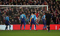 Football - 2017 / 2018 FA Cup - Third Round: Nottingham Forest vs. Arsenal<br /> <br /> Mathieu Debuchy of Nottingham Forrest scoring his first goal at the City Ground.<br /> <br /> COLORSPORT/LYNNE CAMERON