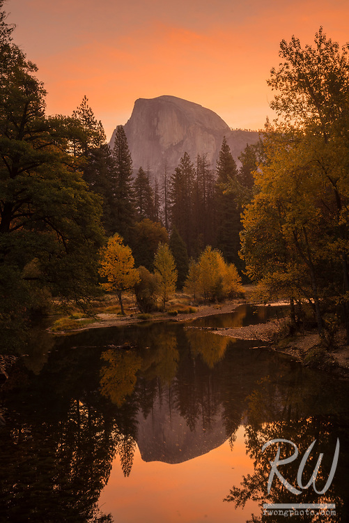 Fall Sunrise at Sentinel Bridge With Half Dome in Background, Yosemite National Park, California