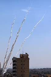 May 4, 2019 - Gaza City, Gaza Strip - Missiles being launched towards Israel from the Gaza Strip. Earlier on Saturday, the Joint Chamber of Military Operations, which comprises the armed wings of Palestinian factions, including Hamas and the Islamic Jihad, fired dozens of rockets from the Gaza Strip into Israel. Firing the rockets from the coastal enclave into southern Israel, according to the Joint Chamber of Military Operations, was a response to Israeli killing of four Palestinians and wounded 51 others on Friday in eastern Gaza Strip close to the border with Israel. (Credit Image: © Zhao Yue/Xinhua via ZUMA Wire)