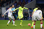 Ousmane Dembele of Barcelona and Aouar Houssem of Lyon during the UEFA Champions League, round of 16, 1st leg football match between Olympique Lyonnais and FC Barcelona on February 19, 2019 at Groupama stadium in Decines-Charpieu near Lyon, France - Photo Romain Biard / Isports / ProSportsImages / DPPI