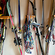 Martha Hunt's quiver of ski gear in her garage.