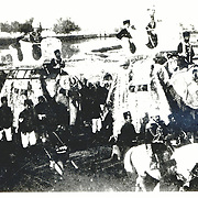 October 1909<br /> A considerable number of elephants still lived in Kabul up until Habibullah Ghazi (Bacha Saqqao) left. They were usually used for hauling, but on ceremonial occasions they were gaily decorated as seen here for Sardar Enayatullah's wedding procession in 1909. Elephants were highly prized and credited for saving Kabul by demolishing houses in the vicinity of the great fire of 1908. KES Collection No. 126/3