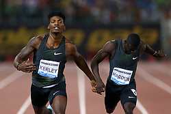 May 31, 2018 - Rome, Italy - Fred Kerley (USA) and Abdalleleh Haroun (QAT) compete in 400m men during Golden Gala Iaaf Diamond League Rome 2018 at Olimpico Stadium in Rome, Italy on May 31, 2018. (Credit Image: © Matteo Ciambelli/NurPhoto via ZUMA Press)