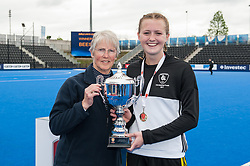 Beeston's Mimi Tarrant collects the trophy. Beeston v Reading - Girls U18 Cup Final, Lee Valley Hockey & Tennis Centre, London, UK on 01 May 2017. Photo: Simon Parker