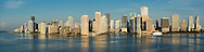 This version is watermarked, contact us for a license and clean version. Aerial panorama of downtown Miami from the east over Biscayne Bay, featuring Bayfront Park, the entrance to the Miami River and Brickell Key.