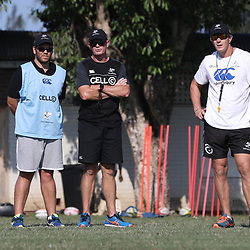 Jaco Pienaar (Assistant Coach) of the Cell C Sharks with Sean Everitt (Assistant Coach) of the Cell C Sharks and Ryan Strudwick (Assistant Coach) of the Cell C Sharks during The Cell C Sharks  training session at Growthpoint Kings Park in Durban, South Africa. 27 March 2017(Photo by Steve Haag)<br /> <br /> images for social media must have consent from Steve Haag