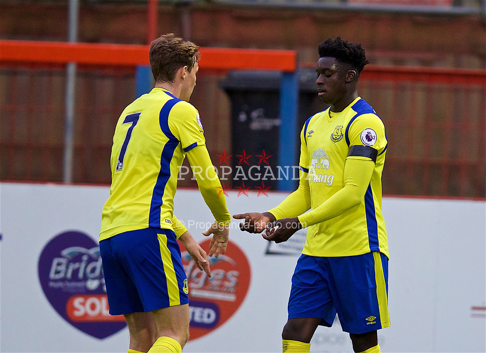 ALDERSHOT, ENGLAND - Friday, April 21, 2017: Everton's Bassala Sambou [R] celebrates scoring the first equalising goal against Chelsea with team-mate Kieran Dowell [L] during FA Premier League 2 Division 1 Under-23 match at the Recreation Ground. (Pic by David Rawcliffe/Propaganda)
