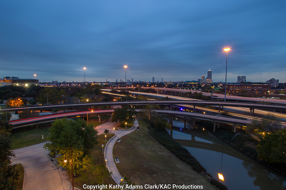 The Pierce Elevated, a part of Interstate 45, crosses downtown Houston with surface streets and Buffalo Bayou underneath.