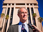 31 OCTOBER 2010 - PHOENIX, AZ:   Terry Goddard at a press conference in Phoenix Sunday. Goddard, and the other Democrats on the statewide ticket, campaigned in Window Rock and Kingman on Halloween. Goddard ended the day with a press conference in front of the Executive Office Tower at the State Capitol in Phoenix. Goddard lost the election to sitting Governor Jan Brewer, a conservative Republican.     PHOTO BY JACK KURTZ