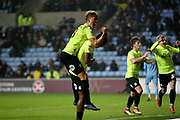 Peterborough United forward Ivan Toney (17) and Peterborough United midfielder Mark O'Hara (8) celebrate the posh goal during the EFL Sky Bet League 1 match between Coventry City and Peterborough United at the Ricoh Arena, Coventry, England on 23 November 2018.