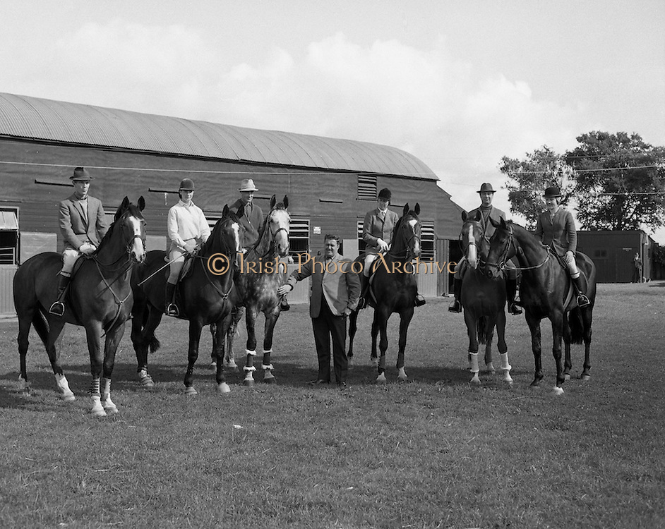 The Irish Olympic Equestrian Team which would compete in Mexico. (L to R) Mr John Fowler, &lsquo;March Hair&rsquo;; Miss Juliet Jobling-Purser, &lsquo;Jenny&rsquo;; Mr Alan Lillington, &lsquo;Biddlecome&rsquo;; Mrs Diana Wilson, &lsquo;Chianto Rosso&rsquo;; The Hon. Patrick Connolly Carew, &lsquo;Ping Pong&rsquo;; Miss Penny Moreton, &lsquo;Loughlin&rsquo;.<br /> 31.08.1968