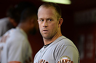 PHOENIX, AZ - APRIL 06:  Aaron Hill #7 of the San Francisco Giants looks on in the dugout during the MLB game against the Arizona Diamondbacks at Chase Field on April 6, 2017 in Phoenix, Arizona. The Arizona Diamondbacks won 9-3.  (Photo by Jennifer Stewart/Getty Images)