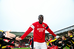 Famara Diedhiou of Bristol City comes in from the warmup - Rogan/JMP - 27/01/2018 - Ashton Gate Stadium - Bristol, England - Bristol City v Queens Park Rangers - Sky Bet Championship.