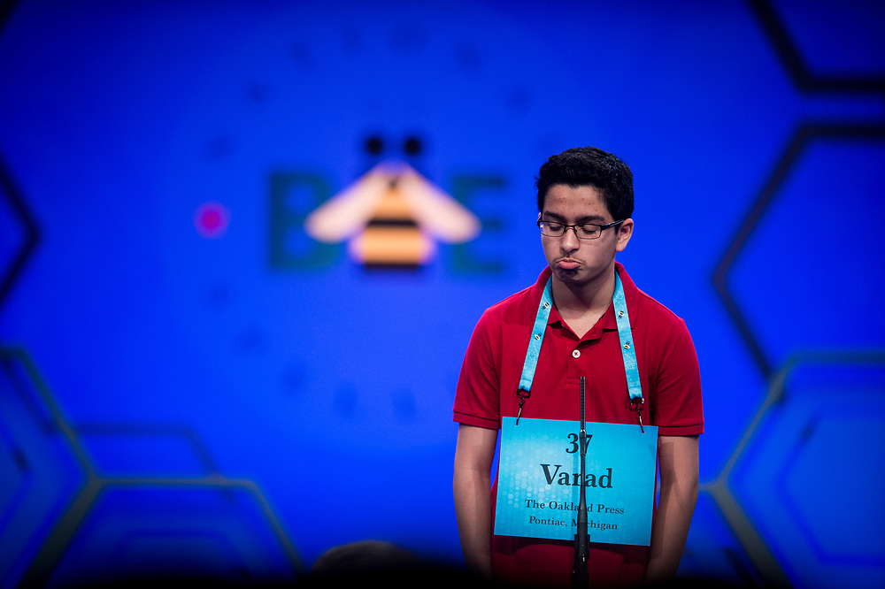 Varad Mulay, 13, from Novi, Mich., participates in the finals of the 2017 Scripps National Spelling Bee on Thursday, June 1, 2017 at the Gaylord National Resort and Convention Center at National Harbor in Oxon Hill, Md.      Photo by Pete Marovich/UPI