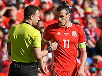 Football - 2018 / 2019 Euro Championship 2020 qualifying round. Wales v SLOVAKIA <br /> <br /> referee speaks to Gareth Bale of Wales<br /> at Cardiff City Stadium<br /> <br /> COLORSPORT/WINSTON BYNORTH