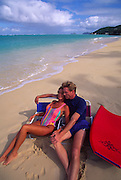 Couple on Beach, Lanikai, Oahu, Hawaii<br />