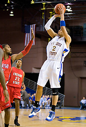 February 27, 2010; San Jose, CA, USA;  San Jose State Spartans guard Adrian Oliver (2) shoots a jump shot against the Fresno State Bulldogs during the first half at The Event Center.  San Jose State defeated Fresno State 72-45.