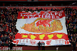 LIVERPOOL, ENGLAND - Sunday, October 7, 2018: Liverpool supporters move a huge banner during the FA Premier League match between Liverpool FC and Manchester City FC at Anfield. (Pic by David Rawcliffe/Propaganda)